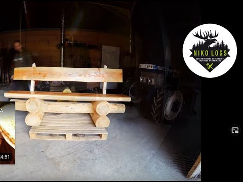 banc en rondins brut construction log bench youtube. Black Bedroom Furniture Sets. Home Design Ideas