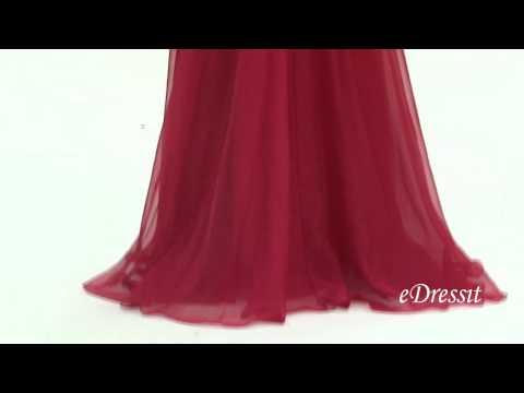 eDressit Long Sleeves Beaded Bodice Red Prom Dress