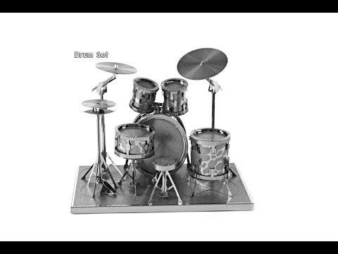 Drum Set 3D Metallic Puzzle Educational DIY Toy  -  SILVER