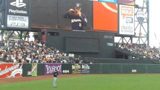 Amazing Ryan Braun Home Run Robbing At AT T Park I Was There