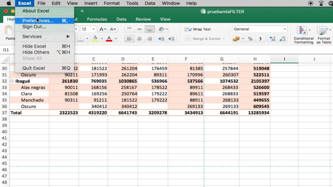 blue dotted lines excel mac