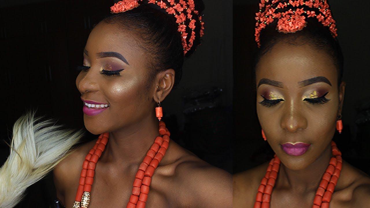 nigerian traditional bridal makeup and hair    igbo bride inspired