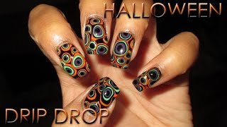 Halloween Drip Drop Blobbicure   DIY Nail Art Tutorial