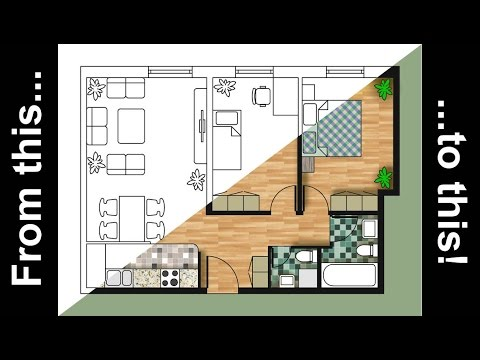 How to render an autocad floor plan with photoshop youtube Rendering floor plans