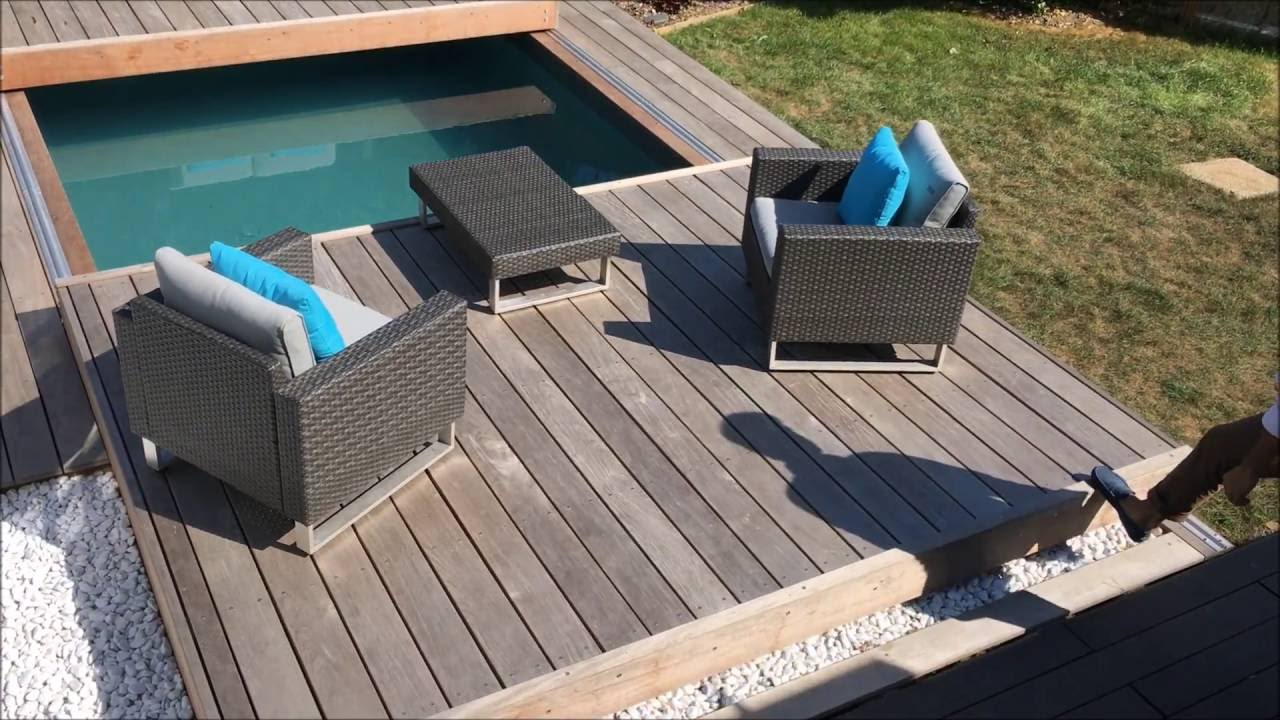 terrasse mobile de piscine un rolling deck en 2 parties margency youtube. Black Bedroom Furniture Sets. Home Design Ideas