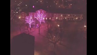 Trees at Grythyttan square filled with beautiful pink lights (cancer awareness)