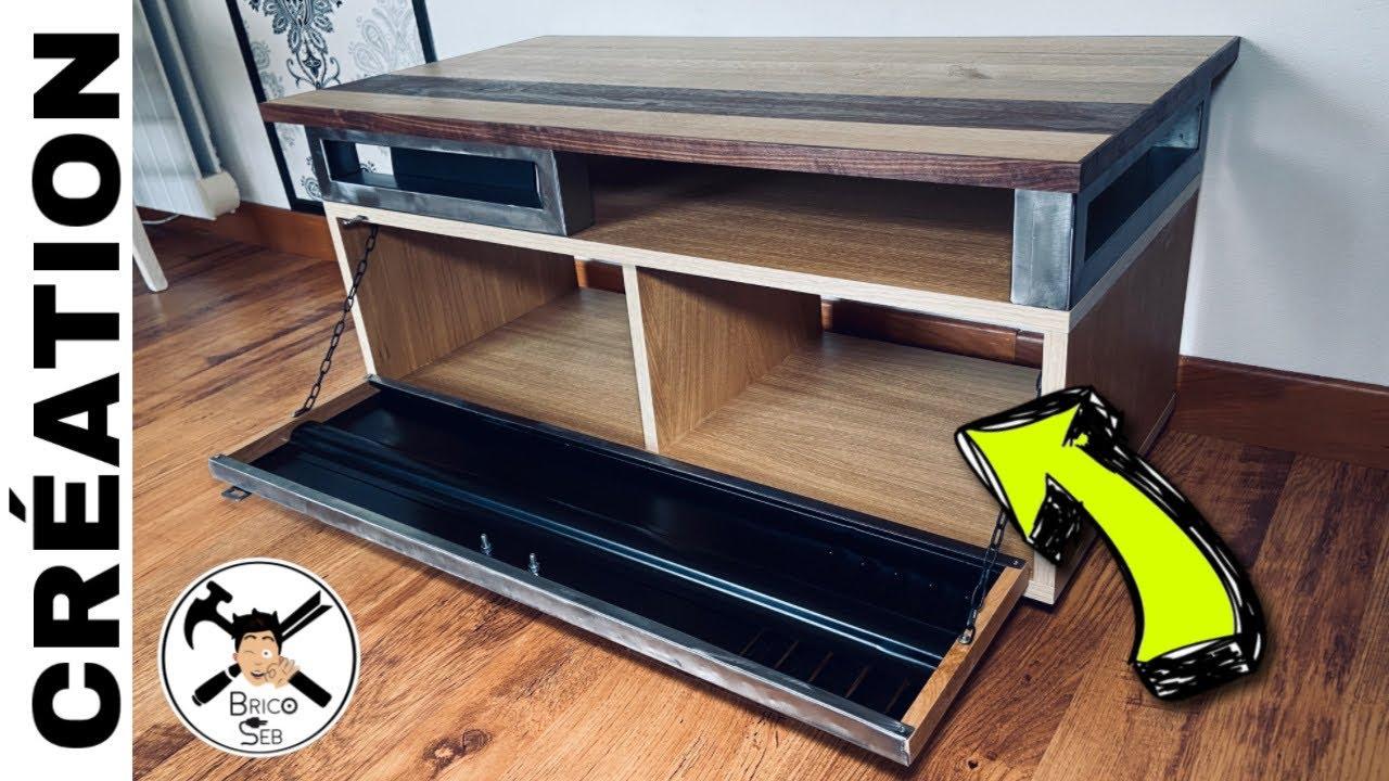 fabriquer un meuble tv industriel bois et metal partie 2 brico seb
