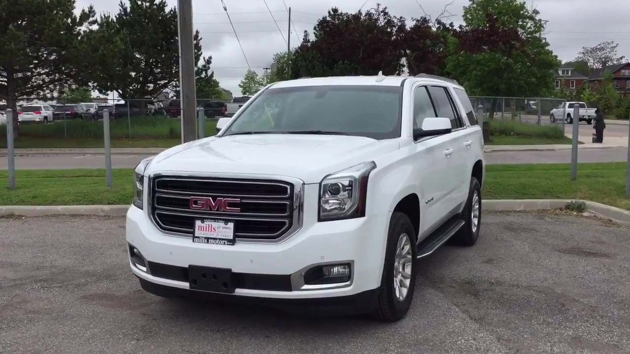pre owned 2017 gmc yukon sle 4wd running boards rear climate controls white oshawa on stock. Black Bedroom Furniture Sets. Home Design Ideas