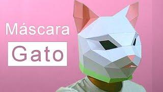 Cómo hacer una mascara de gato con papel opalina o cartulina fácil y rápido - Papercraft