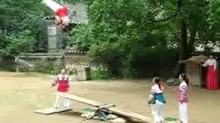 We saw these performers at the folk village in Suwon. This is a tra...
