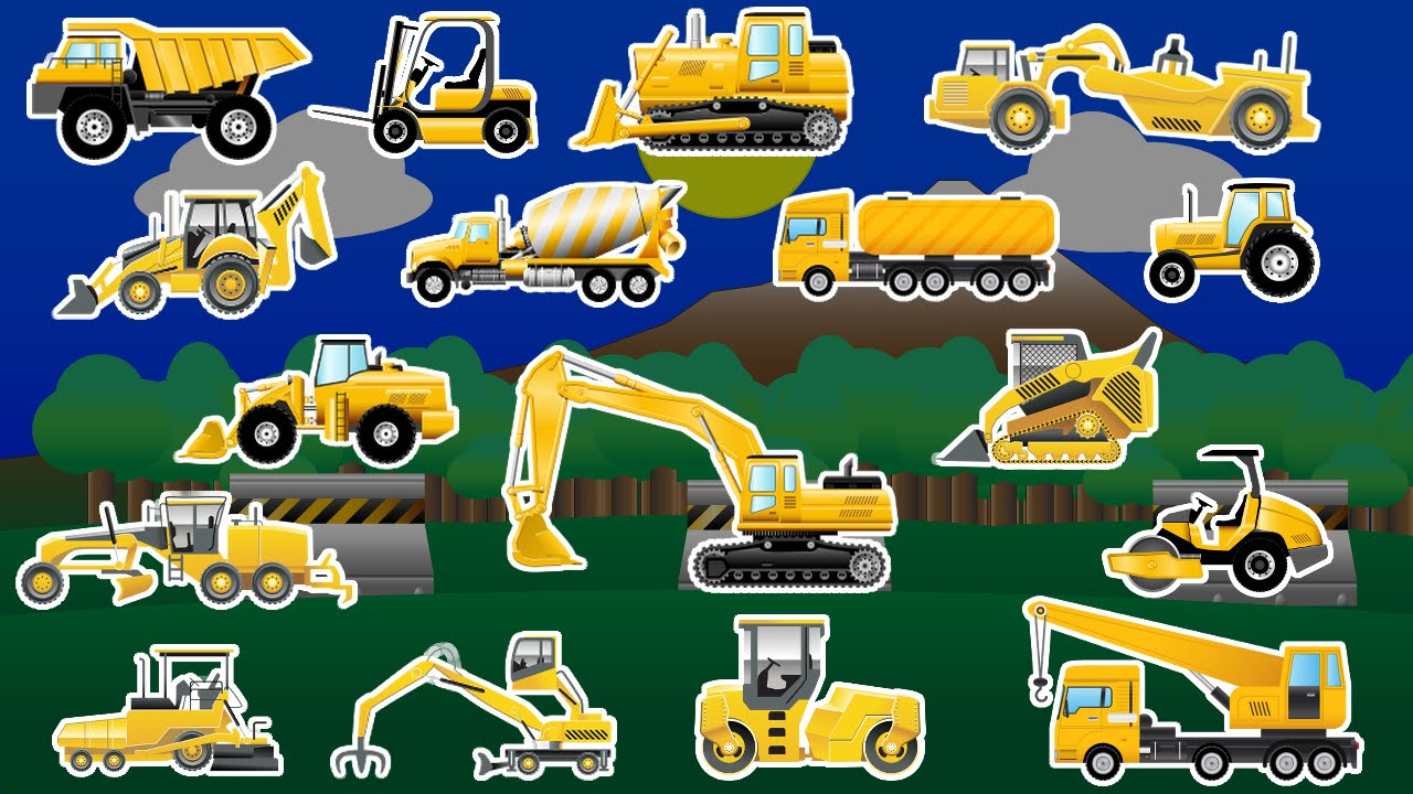 Learning Construction Vehicles  Trucks and Diggers  Childrens