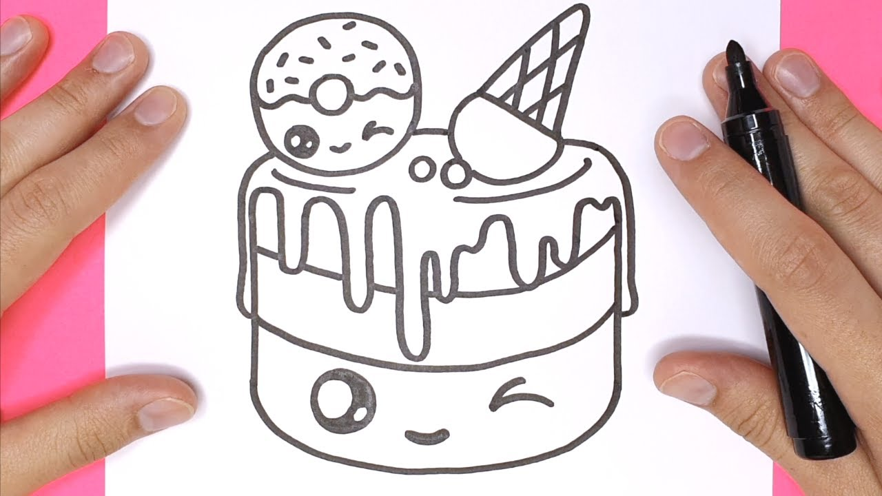 How to Draw the CUTEST CAKE step by step EASY   Happy Drawings