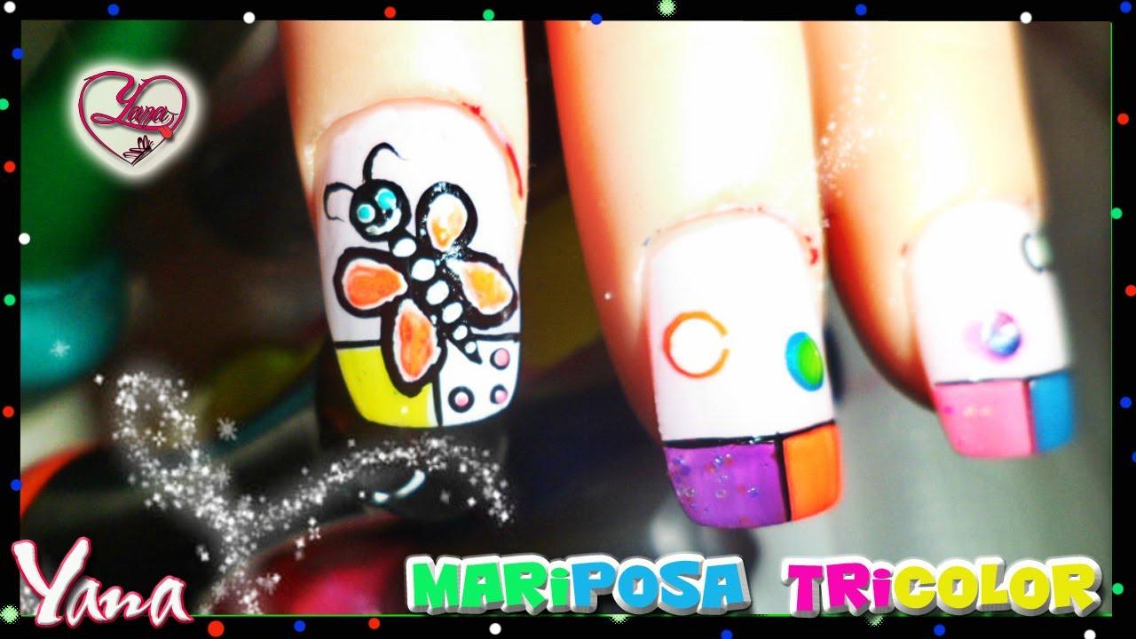 Decorados de u as mariposa tricolor yana nail art - Decorados de unas ...