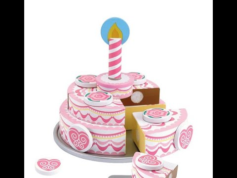 Melissa Doug Wooden Triple Layer Party Cake Slicing Cutting