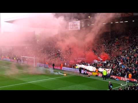 Liverpool Fans with pyroshow at Craven Cottage