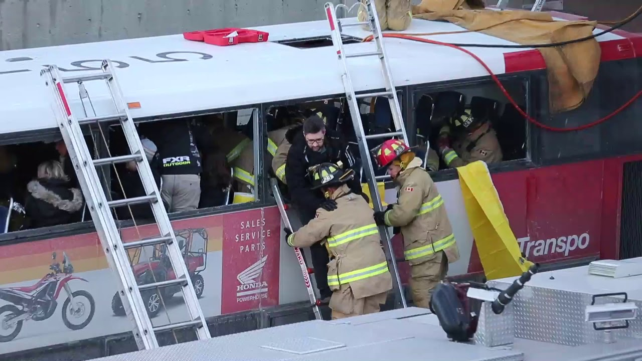 RAW: Video from the scene of serious bus crash at Westboro station #1