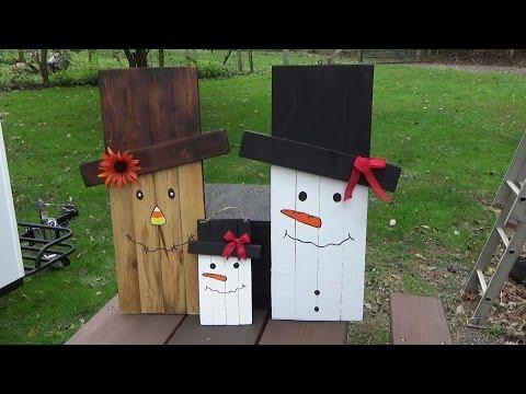 mini snowman scarecrow craft