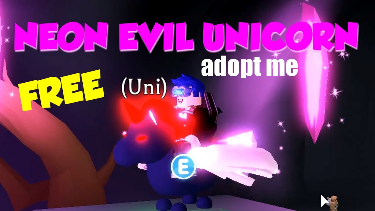 How To Get A Free Neon Evil Unicorn Adopt Me Halloween Pets