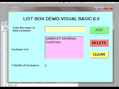 Learn Visual  Basic 6.0 (VB6)-  ListBox Control -Add,Delete And Clear Items From List