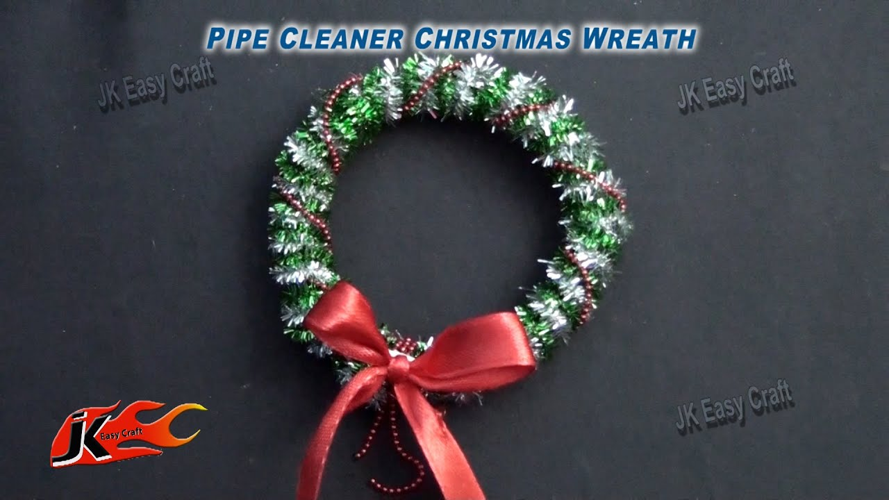 diy pipe cleaner christmas wreath how to make jk easy craft 081 youtube