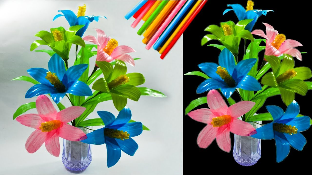Cara Membuat Bunga Hias Dari Sedotan Kreatif Beautiful Flower Decorations With Straws Youtube