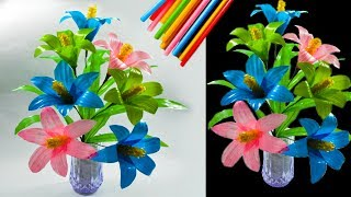 cara membuat bunga hias dari sedotan kreatif | beautiful flower decorations with straws