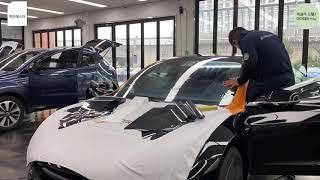 테슬라 썬팅 전문점에서 테슬라 모델3 자동차 썬팅 시공…