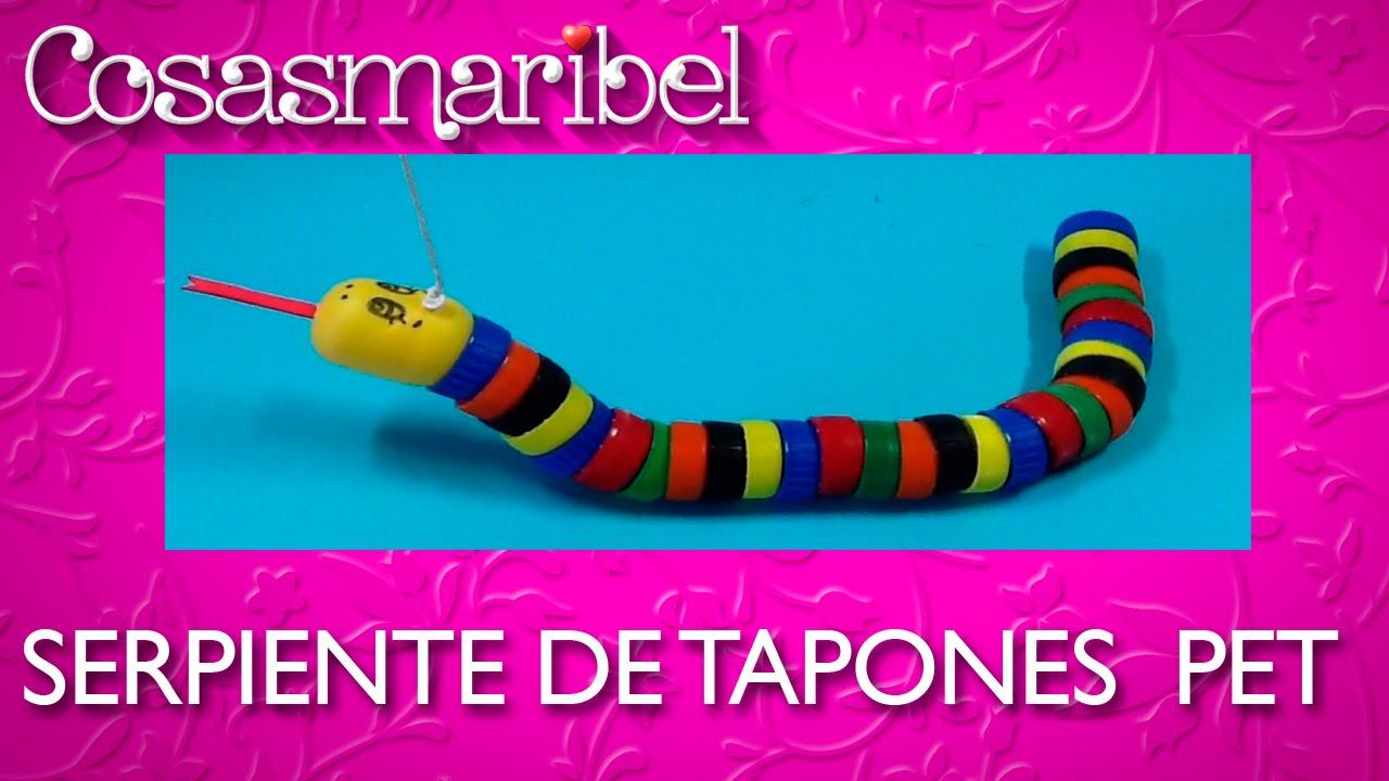Reciclaje de tapones serpiente de tapones pet youtube - Manualidades con tapones de plastico ...