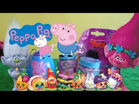 Surprise Eggs Open - Shopkins Chef Club, Peppa Pig and Dreamworks Trolls