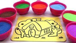 Xúc Xắc Xúc Xẽ! Đồ chơi Trẻ em - TÔ MÀU TRANH CÁT NGÔI NHÀ Colored Sand Painting