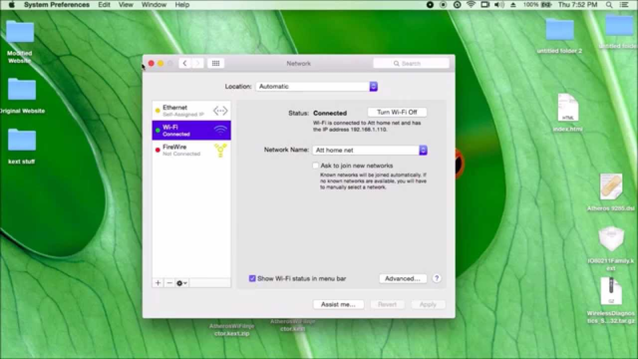 Atheros 9285 WiFi adaptor very EASY install on Hackintosh Yosemite