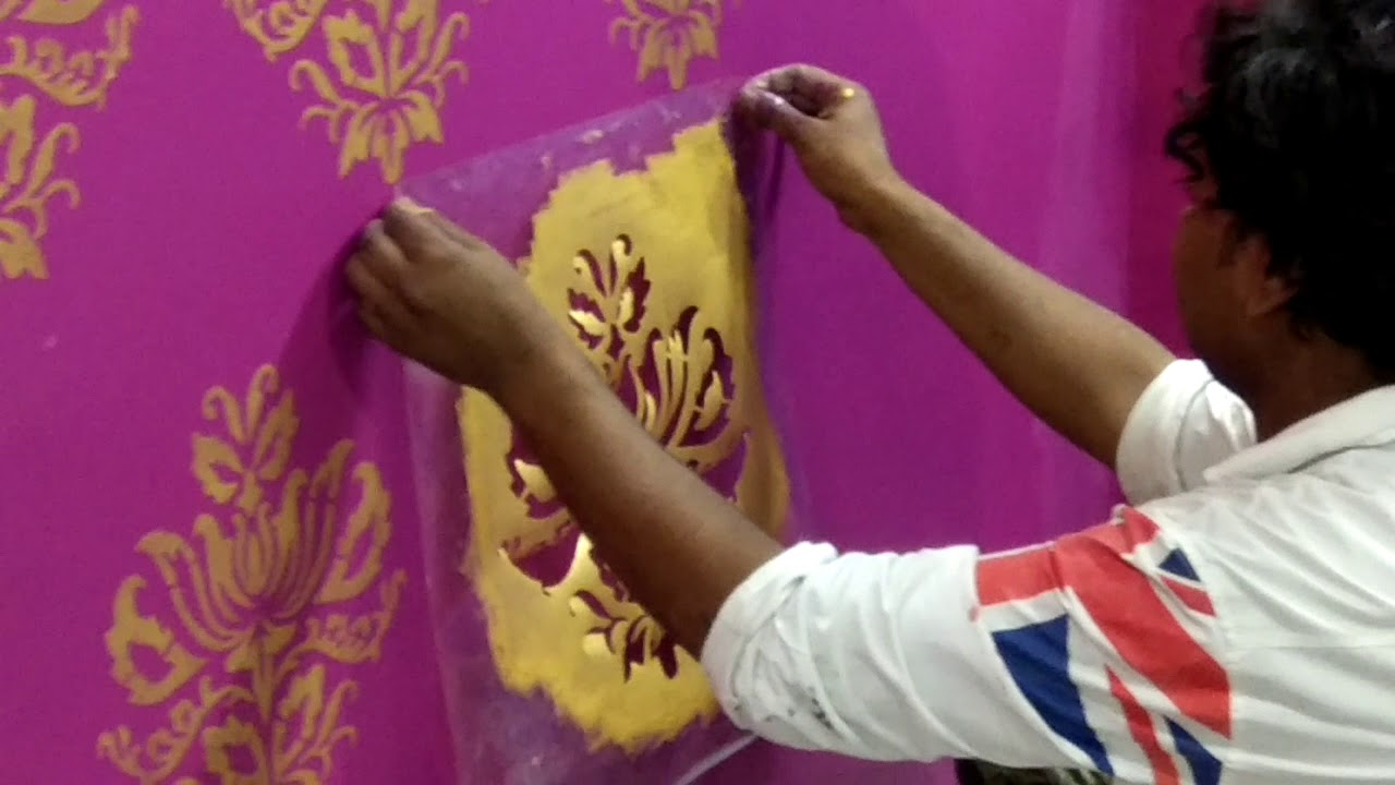 How To Apply Asian Paint S Royal Play Stencil Youtube