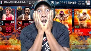 NBA LIVE MOBILE & MADDEN MOBILE 18 PACK OPENING IN 1 VIDEO! New Ultimate Legends & G.O.A.T. Players