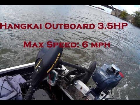 Hangkai Outboard 3 5 HP Speed Test on 14ft Jon Boat