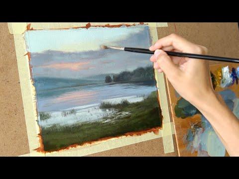 Масляная живопись для начинающих. Рисуем пейзаж  #3   Art tutorial . Oil painting thumbnail