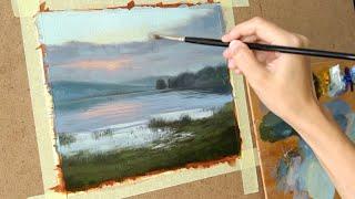 Масляная живопись для начинающих. Рисуем пейзаж  #3   Art tutorial . Oil painting
