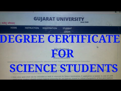 Gujarat University Degree Certificate Application online 2018