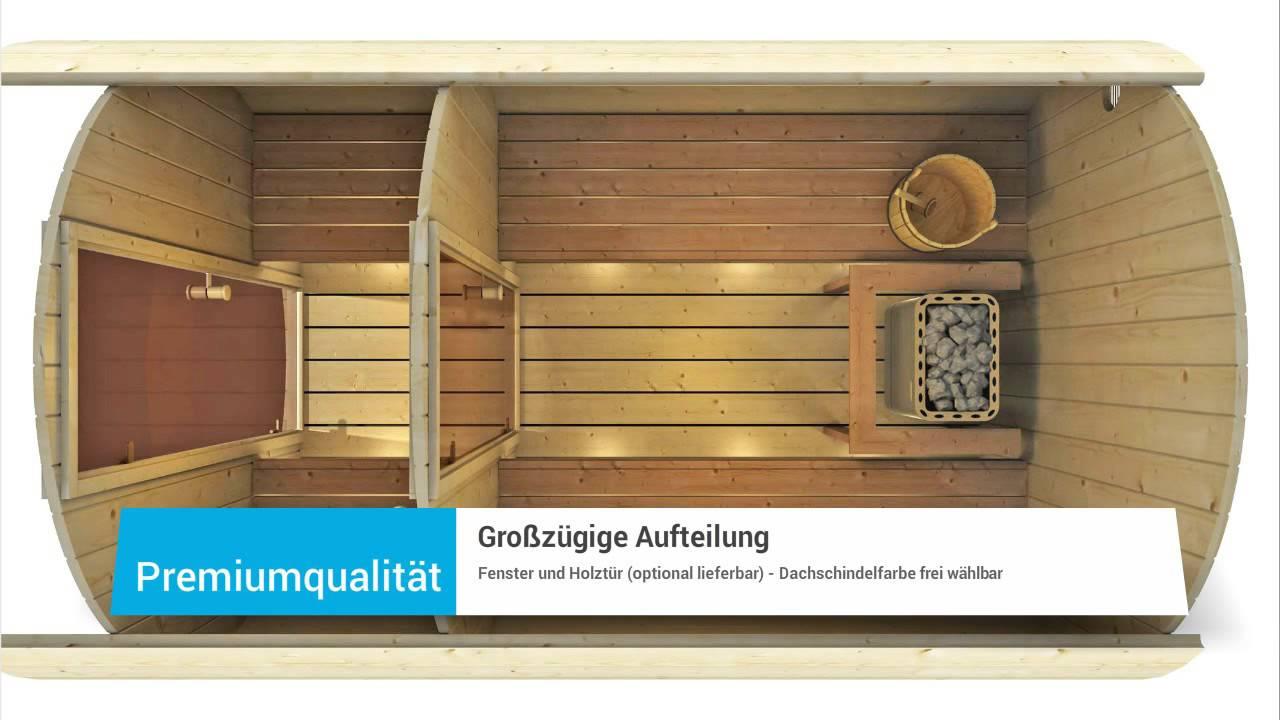 saunafass 330 premium von finn art blockhaus youtube. Black Bedroom Furniture Sets. Home Design Ideas