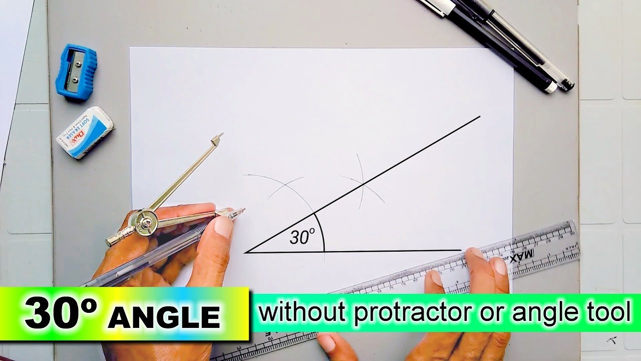 draw 30 degree angle without protractor or angle tool with compass