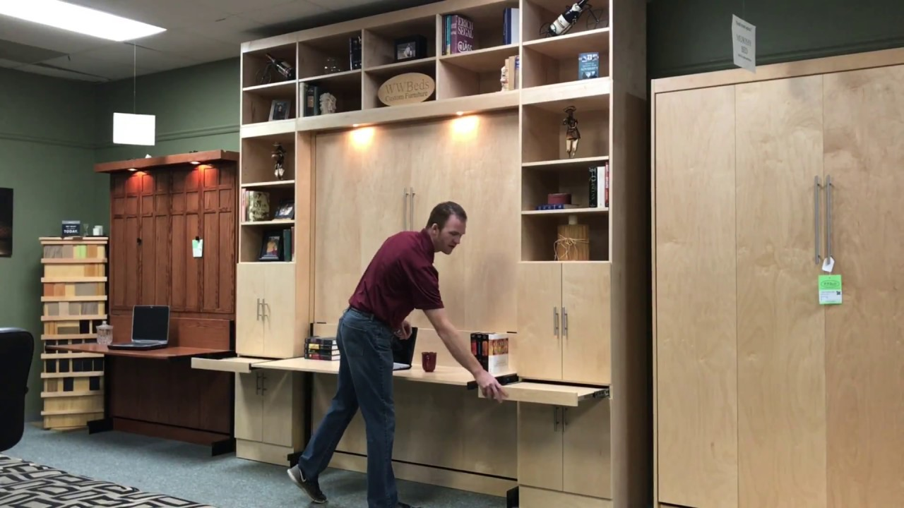 Massive Murphy Bed With Stay Level Desk, How To Add A Desk Murphy Bed