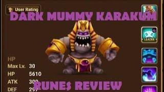 summoners war dark mummy karakum review dark mummy runes skills review