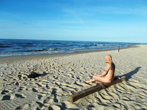 Taking a swim in the Baltic sea on a wild beach