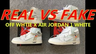 REAL VS FAKE OFF X WHITE AIR JORDAN 1 WHITE COMPARISON FROM SUPLOOK OFF  WHITE AI.