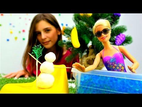 Игры для девочек: ⛄❄️Снеговик на новый год своими руками из пены и соды от #БАРБИ #DIY