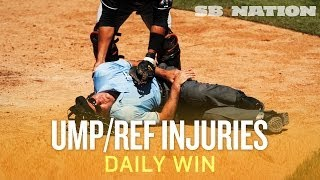 Most notable umps/refs getting hit during games (Daily Win)
