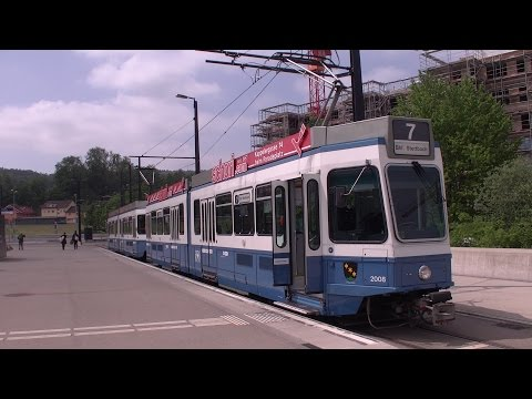 Straßenbahn Zürich Führerstandsmitfahrt Tram 2000 Linie 7