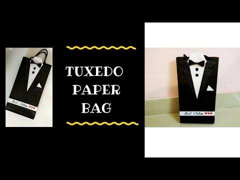 Paper Bag Tutorial || How to make Tuxedo Paper Bag || DIY Tuxedo Gift Bag