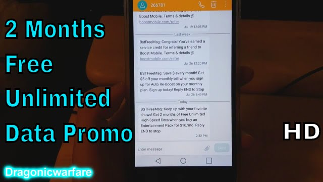 Get 2 Months Free of Unlimited data Promo (Boost Mobile) HD