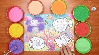 Nhạc thiếu nhi!Đồ chơi trẻ em Tô màu tranh cát hìnhCá Vàng Bơi! ĐẠI DƯƠNG Colores Sand Painting