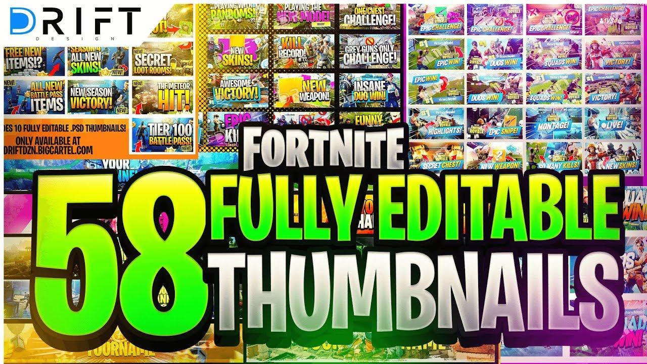 Fortnite 58 Fully Editable Thumbnail Templates Driftdzn Youtube